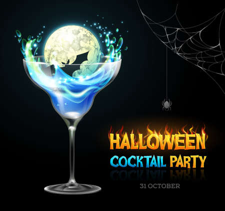 Halloween poison with full moon. Halloween cocktail party poster. Realistic cocktail glass isolated on transparent background Standard-Bild - 156365281