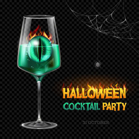 Halloween poison with burning eye. Halloween cocktail party poster. Realistic wine glass isolated on transparent background