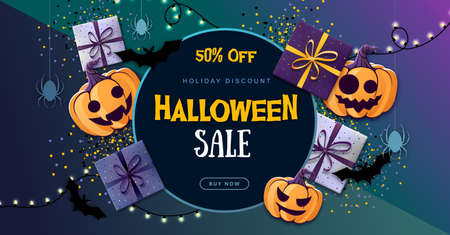 Halloween sale poster with gift boxes and jack o lantern. Halloween background Standard-Bild - 156365286