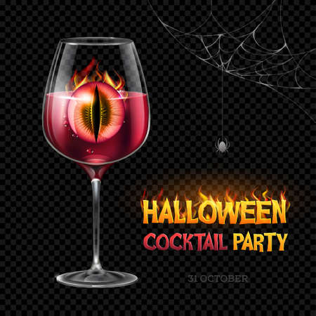 Halloween poison with burning eye. Halloween cocktail party poster. Realistic wine glass isolated on transparent background Standard-Bild - 156365288