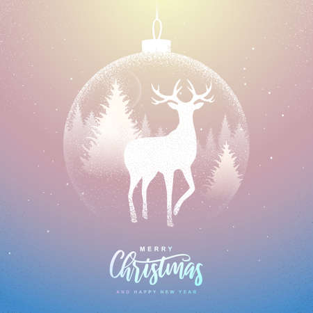 Winter seasonal holiday Christmas background. Christmas greeting card with snow globe and deer in forest inside. Vector illustration