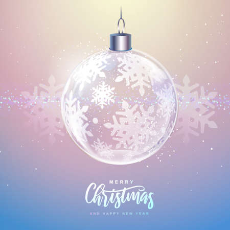 Winter seasonal holiday Christmas background. Christmas greeting card with snow globe and silver snowflake inside. Vector illustration