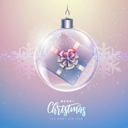Winter seasonal holiday Christmas background. Christmas greeting card with snow globe and gift box inside. Vector illustration Illustration