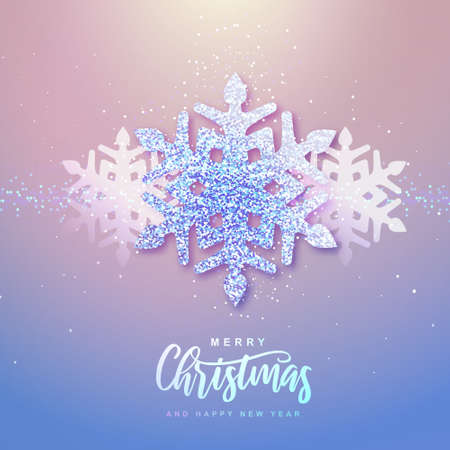 Winter seasonal holiday Christmas background. Christmas greeting card with silver snowflake inside. Vector illustration Illustration