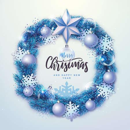 Winter seasonal Christmas background. Christmas holiday realistic decorative wreath. Vector illustration Standard-Bild - 156845751