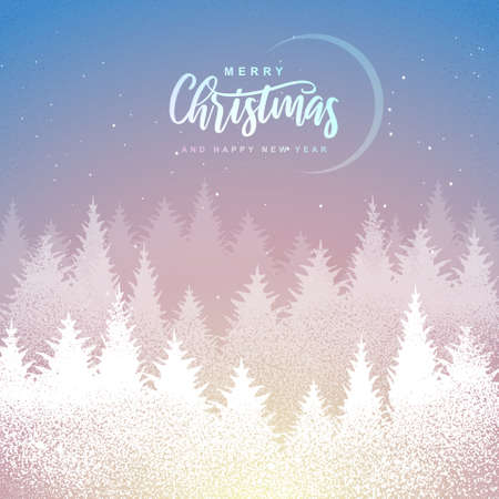 Winter seasonal holiday Christmas background. Christmas greeting card with winter forest. Vector illustration