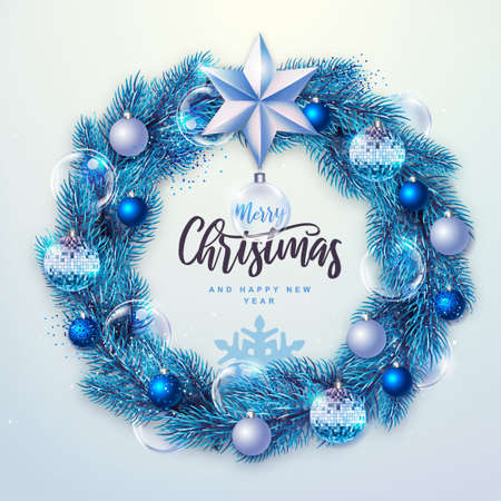 Winter seasonal Christmas background. Christmas holiday realistic decorative wreath. Vector illustration Standard-Bild - 156845758
