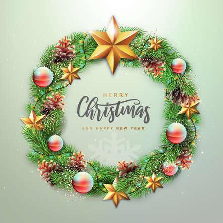 Winter seasonal Christmas background. Christmas holiday realistic decorative wreath. Vector illustration Standard-Bild - 156845764