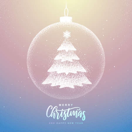 Winter seasonal holiday Christmas background. Christmas greeting card with snow globe and Christmas tree inside. Vector illustration Standard-Bild - 156845765