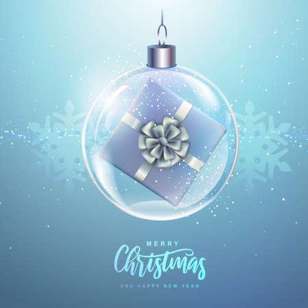Winter seasonal holiday Christmas background. Christmas greeting card with snow globe and gift box inside. Vector illustration Standard-Bild - 156845767