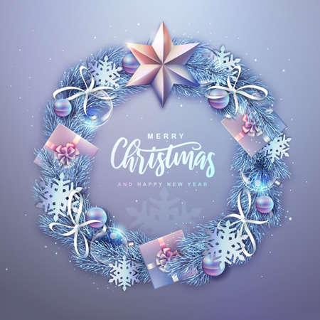 Winter seasonal Christmas background. Christmas holiday realistic decorative wreath. Vector illustration Illustration