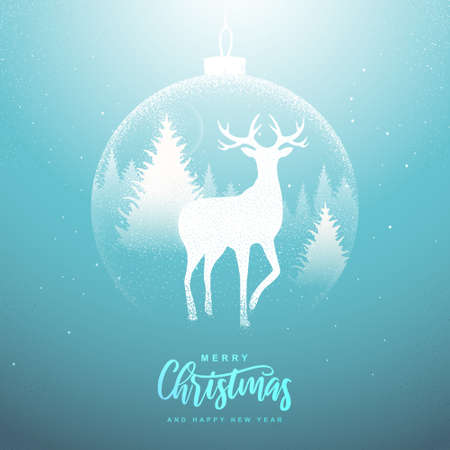 Winter seasonal holiday Christmas background. Christmas greeting card with snow globe and deer in forest inside. Vector illustration Standard-Bild - 156845769