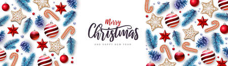 Merry Christmas and Happy New Year greeting card. Christmas holiday background with fir tree, snowflakes, glass balls, pine cones and stars