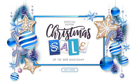 Merry Christmas and Happy New Year greeting card. Christmas big sale poster with fir tree, snowflakes, glass balls, pine cones and stars
