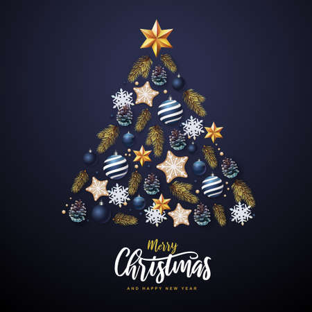 Christmas concept design. Holiday decorative Christmas tree. Vector illustration