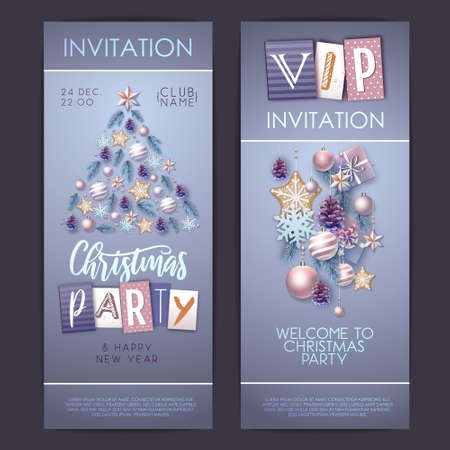 Merry Christmas and Happy New Year greeting card. Christmas holiday invitation with fir tree, snowflakes, glass balls, pine cones and stars 矢量图像