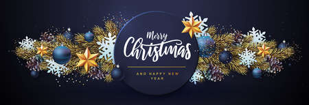 Merry Christmas and Happy New Year greeting card. Christmas holiday background with fir tree, snowflakes, glass balls, gift boxes and stars