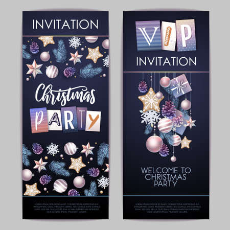 Merry Christmas and Happy New Year greeting card. Christmas holiday invitation with fir tree, snowflakes, glass balls, pine cones and stars