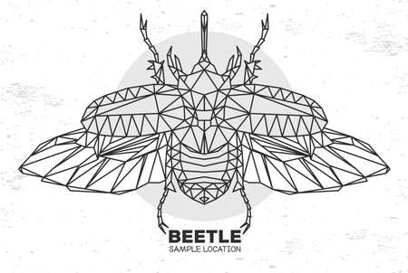 Abstract polygonal triangle rhinoceros beetle. Artistic Bug. Entomological vector illustration