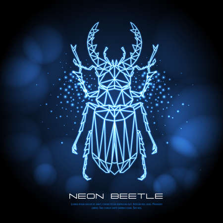 Abstract neon polygonal triangle stag beetle. Bug neon sign. Entomological vector illustration