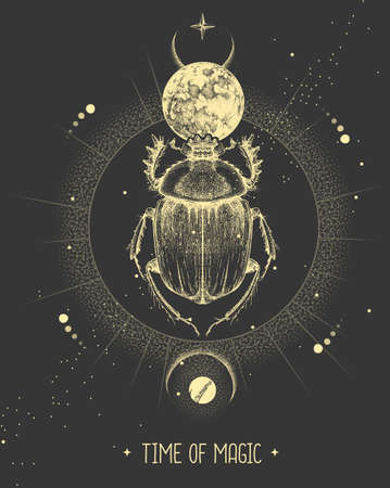 Modern magic witchcraft card with moon and scarab beetle. Hand drawing occult vector illustration
