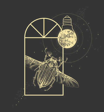 Magic witchcraft window silhouette with june beetle and full moon like light bulb. Vector illustration Illustration