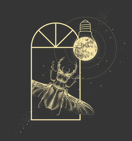 Magic witchcraft window silhouette with stag beetle and full moon like light bulb. Vector illustration