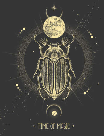 Modern magic witchcraft card with moon and june beetle. Hand drawing occult vector illustration