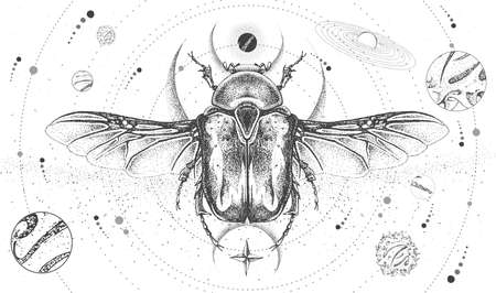 Modern magic witchcraft card with solar system and Flower chafer beetle. Hand drawing occult vector illustration