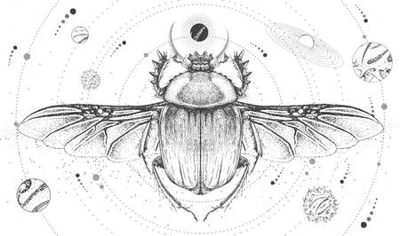 Modern magic witchcraft card with solar system and scarab beetle. Hand drawing occult vector illustration Illustration