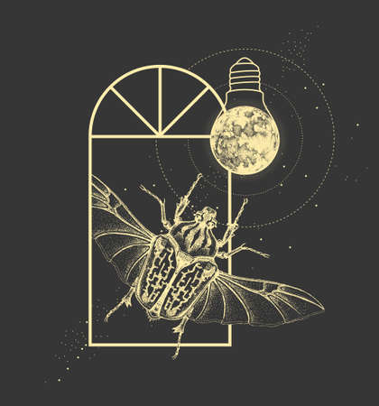 Magic witchcraft window silhouette with Goliath beetle and full moon like light bulb. Vector illustration