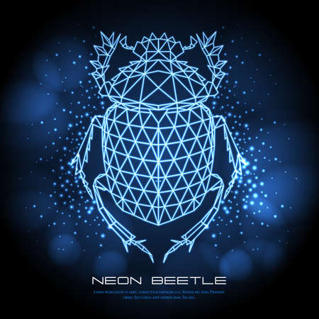 Abstract neon polygonal triangle scarsb beetle. Bug neon sign. Entomological vector illustration