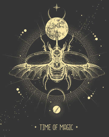 Modern magic witchcraft card with moon and rhinoceros beetle. Hand drawing occult vector illustration
