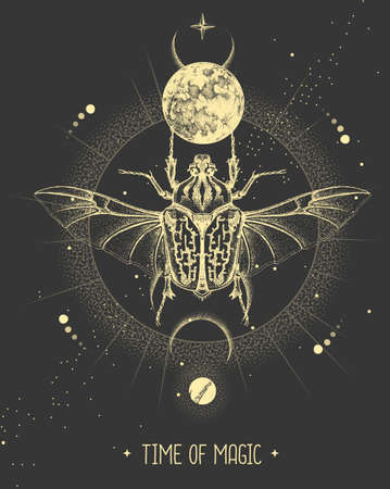 Modern magic witchcraft card with moon and Goliath beetle. Hand drawing occult vector illustration