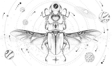 Modern magic witchcraft card with solar system and beetle. Hand drawing occult vector illustration Illustration