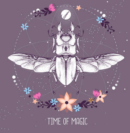 Modern magic witchcraft taros card with beetle on astrology background. Vector illustration