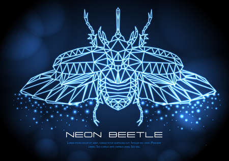 Abstract neon polygonal triangle rhinoceros beetle. Bug neon sign. Entomological vector illustration