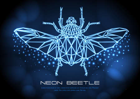 Abstract neon polygonal triangle Goliath beetle. Bug neon sign. Entomological vector illustration Ilustração