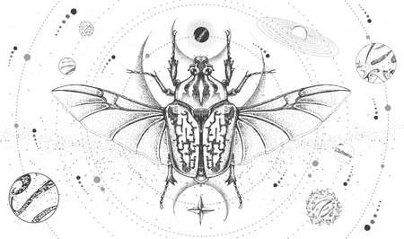 Modern magic witchcraft card with solar system and Goliath beetle. Hand drawing occult vector illustration