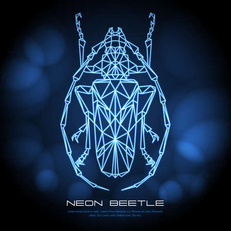 Abstract neon polygonal triangle longhorn beetle. Bug neon sign. Entomological vector illustration Ilustração