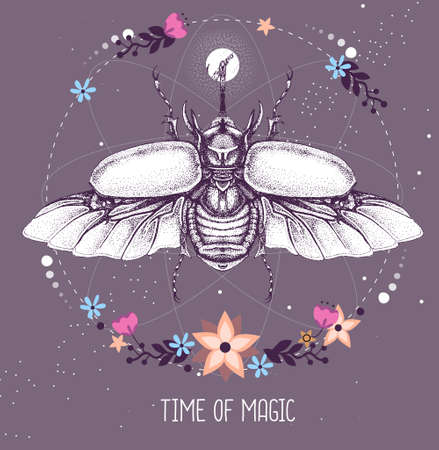 Modern magic witchcraft taros card with rhinoceros beetle on astrology background. Vector illustration Illustration