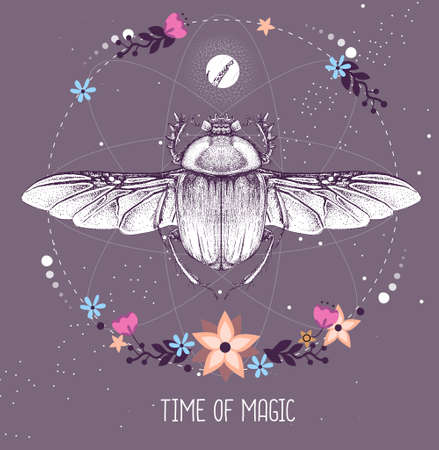 Modern magic witchcraft taros card with scarab beetle on astrology background. Vector illustration
