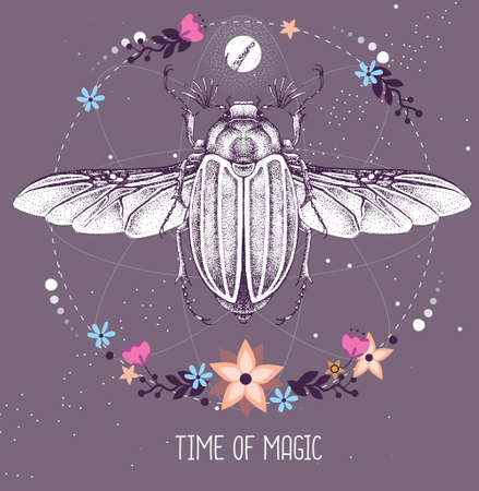 Modern magic witchcraft taros card with june beetle on astrology background. Vector illustration
