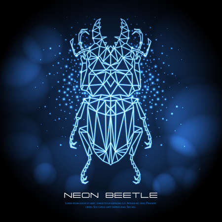 Abstract neon polygonal triangle beetle. Bug neon sign. Entomological vector illustration