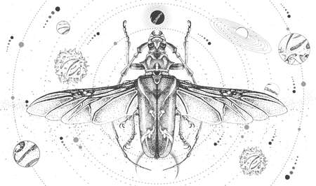 Modern magic witchcraft card with solar system and longhorn beetle. Hand drawing occult vector illustration Illustration