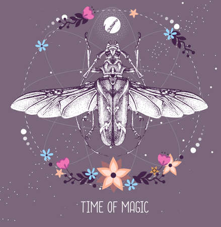 Modern magic witchcraft taros card with longhorn beetle on astrology background. Vector illustration