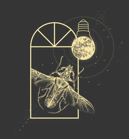 Magic witchcraft window silhouette with longhorn beetle and full moon like light bulb. Vector illustration