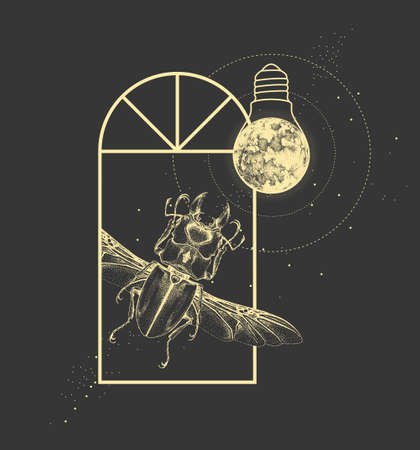 Magic witchcraft window silhouette with beetle and full moon like light bulb. Vector illustration