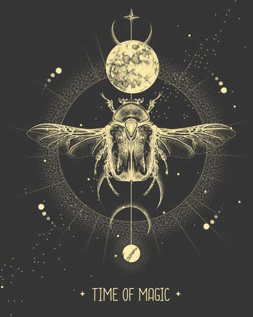 Modern magic witchcraft card with moon and Flower chafer beetle. Hand drawing occult vector illustration