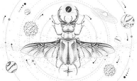 Modern magic witchcraft card with solar system and stag beetle. Hand drawing occult vector illustration